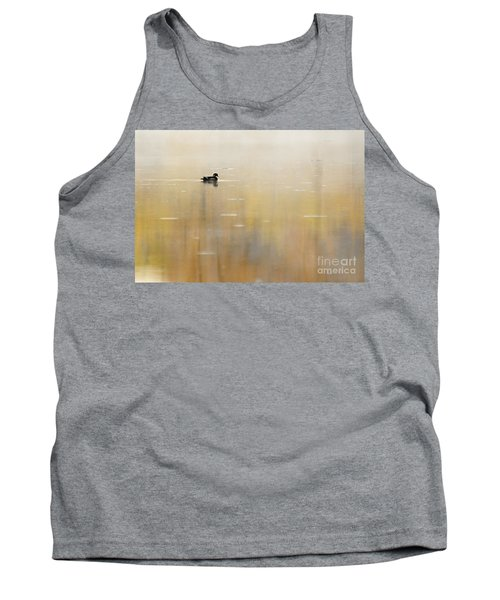 Tank Top featuring the photograph Wood Duck On Golden Pond by Larry Ricker