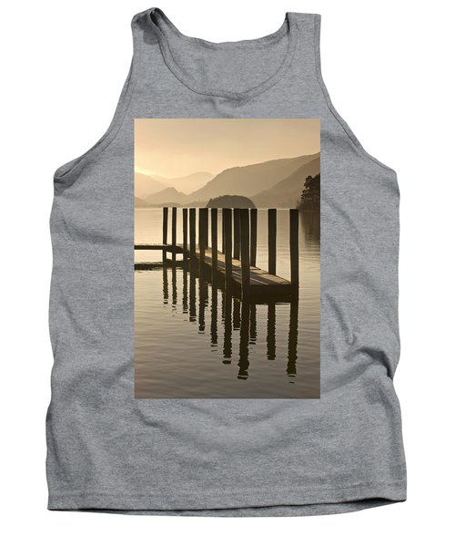 Wooden Dock In The Lake At Sunset Tank Top