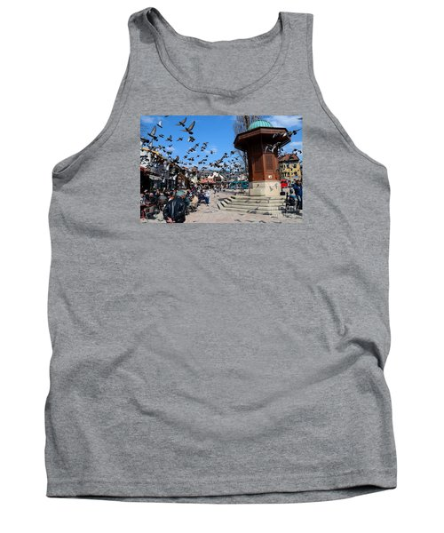 Wooden Ottoman Sebilj Water Fountain In Sarajevo Bascarsija Bosnia Tank Top by Imran Ahmed