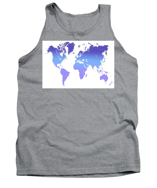 Tank Top featuring the photograph World Map Abstract. Blue Purple by Jenny Rainbow