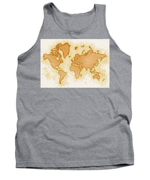 World Map Airy In Brown And White Tank Top