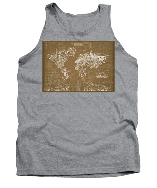 World Map Blueprint 4 Tank Top by Bekim Art