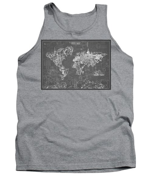World Map Blueprint 5 Tank Top by Bekim Art