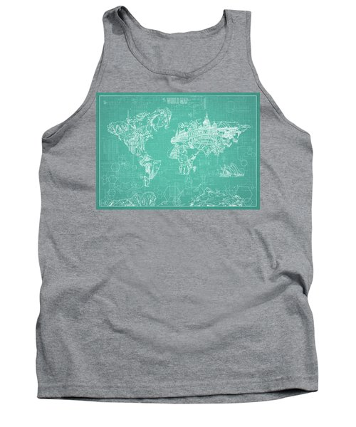 World Map Blueprint 7 Tank Top by Bekim Art