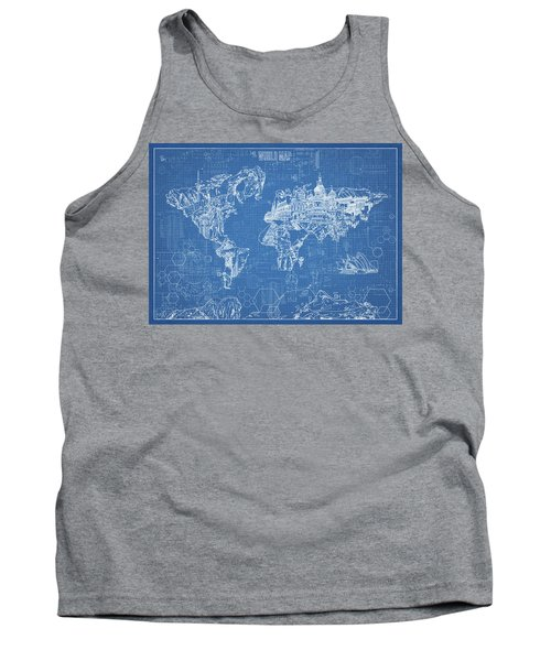 World Map Blueprint Tank Top by Bekim Art