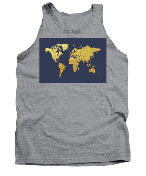 World Map Gold Foil Tank Top
