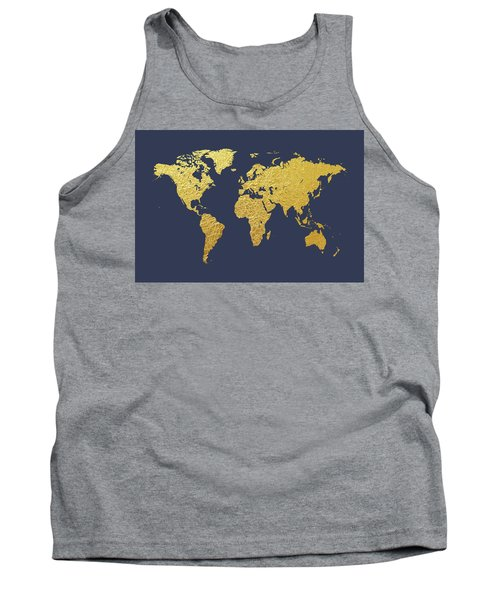 World Map Gold Foil Tank Top