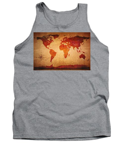 World Map Grunge Style Tank Top