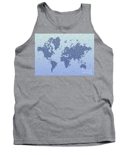World Map Kotak In Blue Tank Top