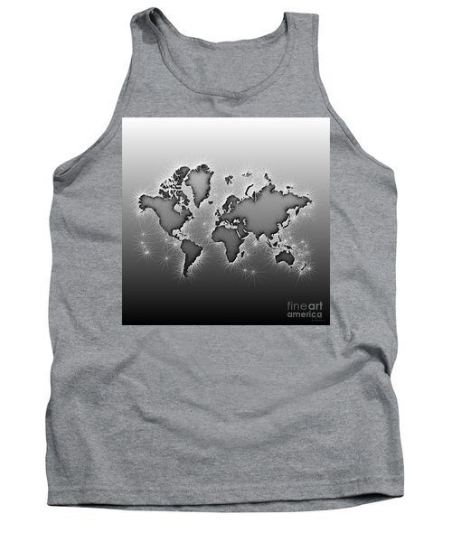 World Map Opala In Black And White Tank Top by Eleven Corners