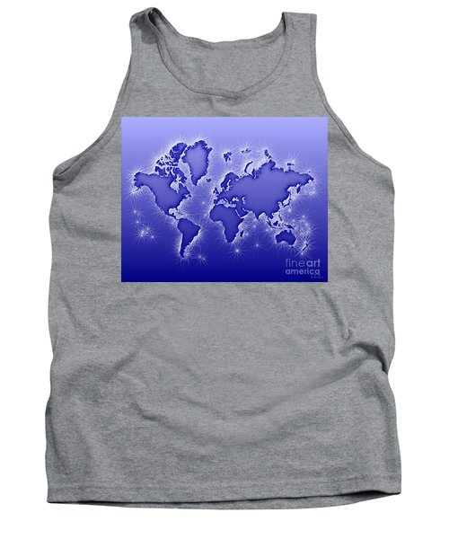 World Map Opala In Blue And White Tank Top