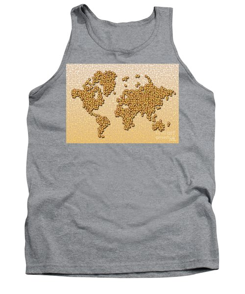 World Map Rolamento In Yellow And Brown Tank Top