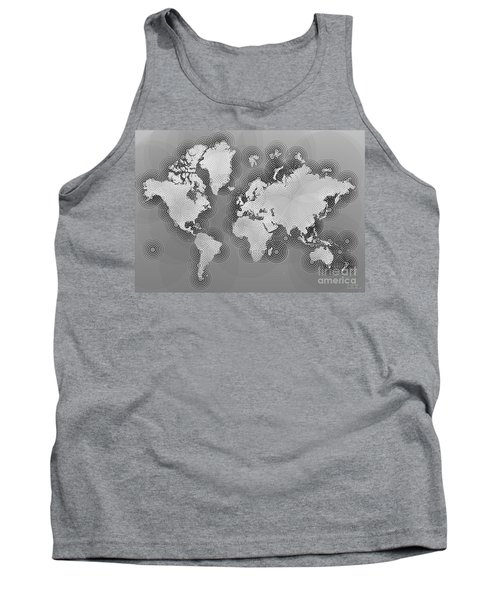 World Map Zona In Black And White Tank Top