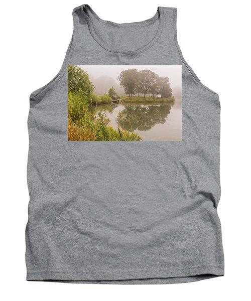 Misty Pond Bridge Reflection #5 Tank Top