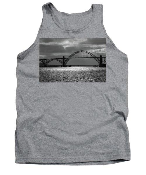Yaquina Bay Bridge Black And White Tank Top by James Eddy