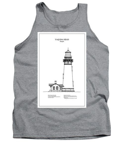 Yaquina Head Lighthouse - Oregon - Blueprint Drawing Tank Top