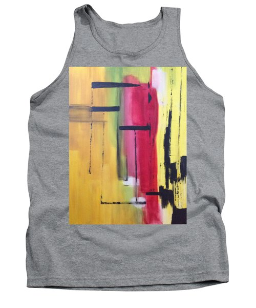 Yellow Abstract Tank Top