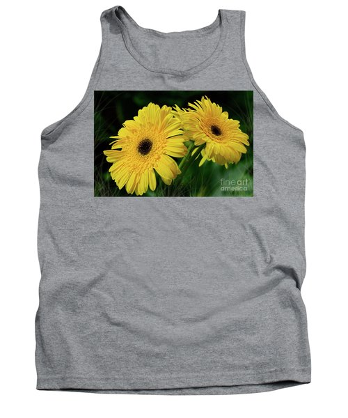 Tank Top featuring the photograph Yellow Gerbera Daisies By Kaye Menner by Kaye Menner