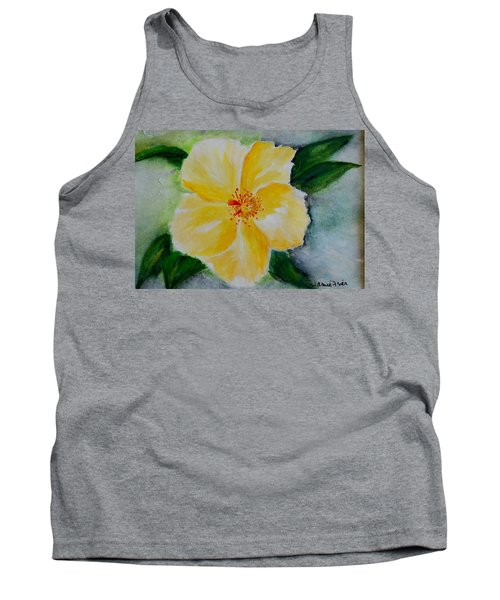 Yellow Hibiscus Tank Top by Jamie Frier