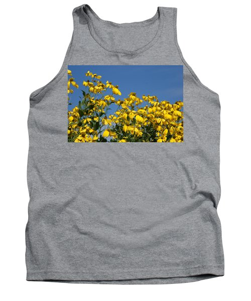 Yellow On Blue Tank Top by Lois Lepisto