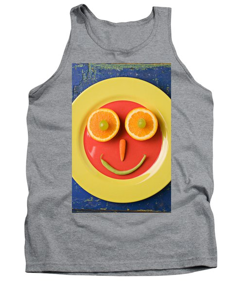 Yellow Plate With Food Face Tank Top by Garry Gay