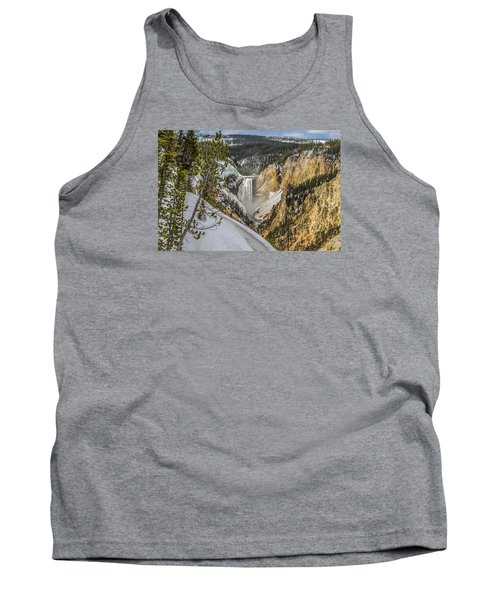 Tank Top featuring the photograph Yellowstone Falls In Winter Snow by Yeates Photography