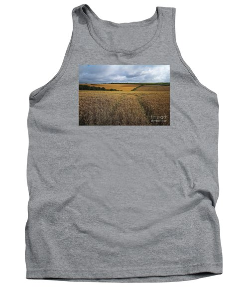 Tank Top featuring the photograph Yelow Fields And Fluffy Clouds  by Gary Bridger