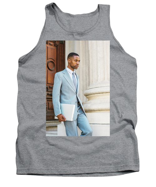 Young African American Businessman Working In New York Tank Top