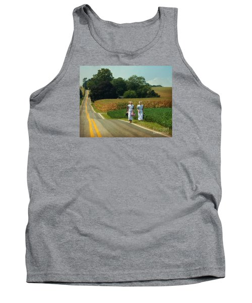Young Amish Woman Barefoot Stroll Tank Top