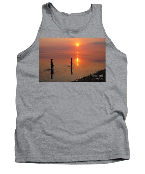 Tank Top featuring the photograph Young Fishermen At Sunset by Christopher Shellhammer