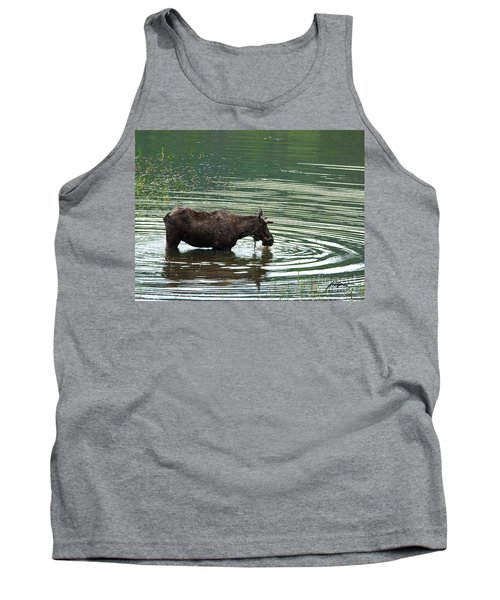 Young Moose In Pond Tank Top
