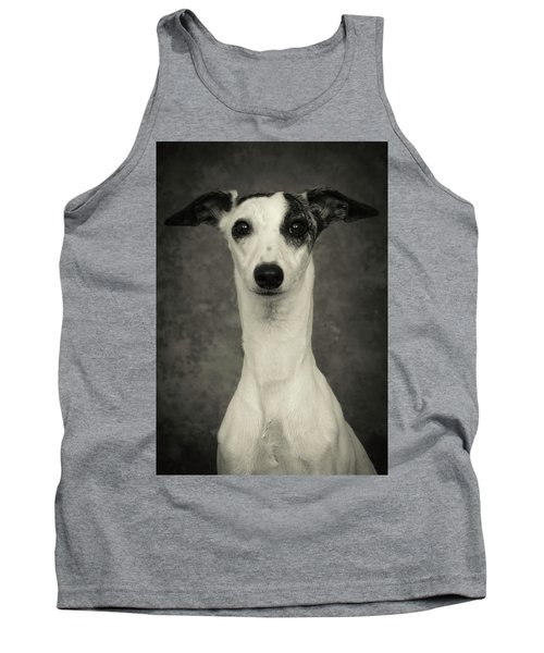Young Whippet In Black And White Tank Top