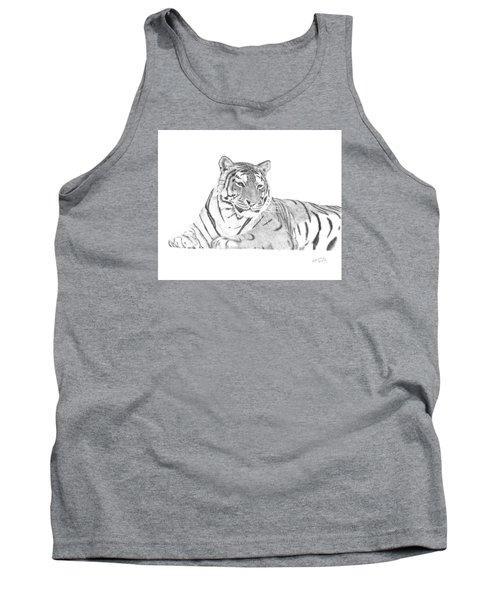 Tank Top featuring the drawing Zarina A Siberian Tiger by Patricia Hiltz