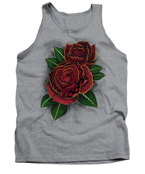 Zentangle Tattoo Rose Colored Tank Top
