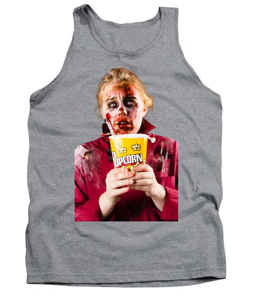 Zombie Woman Watching Scary Movie With Popcorn Tank Top by Jorgo Photography - Wall Art Gallery