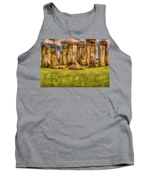 Tank Top featuring the painting Stonehenge by Harry Warrick