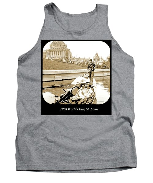 1904 Worlds Fair, Sighteeing Boat, Oarsman And Couple Tank Top