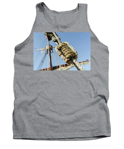 Rigging And Ropes On An Old Sailing Ship To Sail In Summer. Tank Top