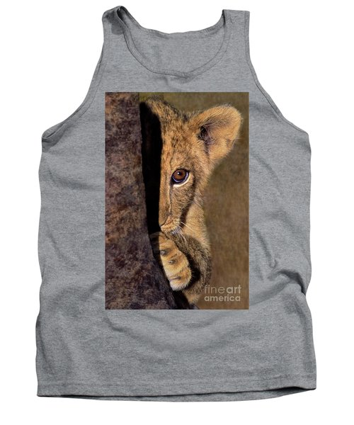 A Lion Cub Plays Hide And Seek Wildlife Rescue Tank Top