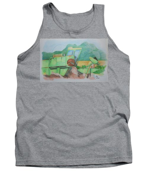 Tank Top featuring the drawing Abandoned Combine by Loretta Nash