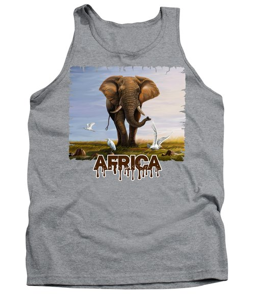 Elephant And Cattle Egrets Tank Top