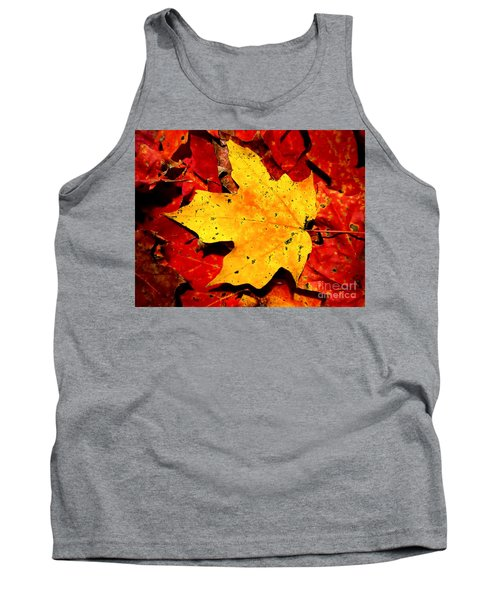 Autumn Beige Yellow Leaf On Red Leaves Tank Top