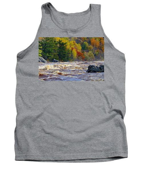 Autumn Colors And Rushing Rapids   Tank Top