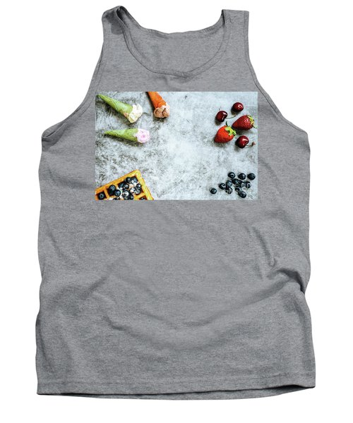 Background Of Tasty And Sweet Foods With Red Fruits And Waffles, Tank Top