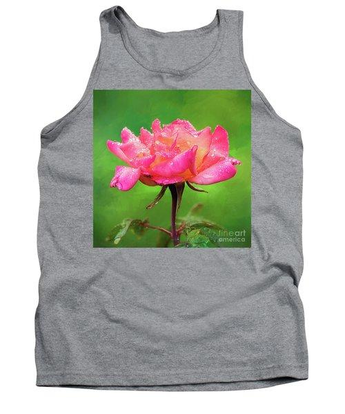 Beautiful Two-tone Rose In The Rain Tank Top