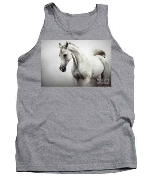 Tank Top featuring the photograph Beautiful White Horse On The White Background by Dimitar Hristov