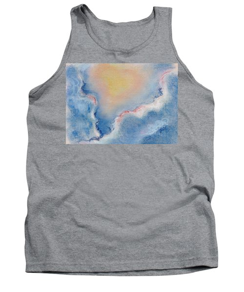 Between Clouds. Abstract Landscape Background Drawing By Pastel Tank Top