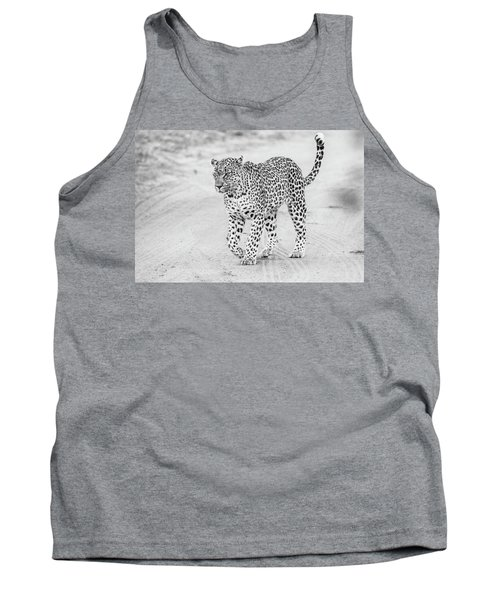 Black And White Leopard Walking On A Road Tank Top