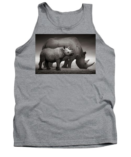 Black Rhinoceros Baby And Cow Tank Top