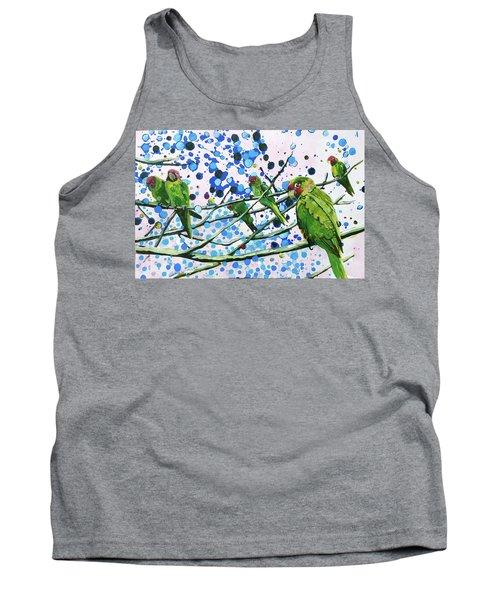 Blue Dot Parakeets Tank Top